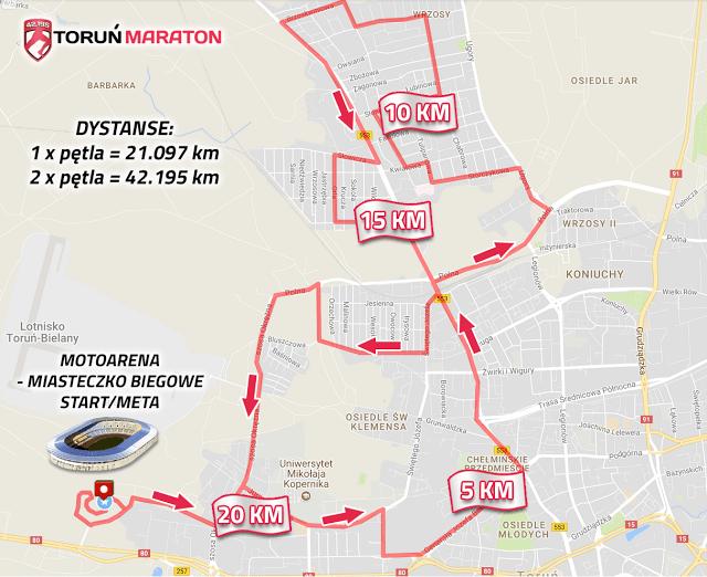 Mapa Maratonu w Toruniu